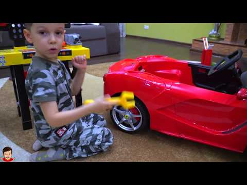 Tema ride on Super car FERRARI and Play with Magic Toys