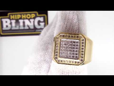 10K Gold Clean CZ Mens Bling Bling Ring | Hip Hop ERG015