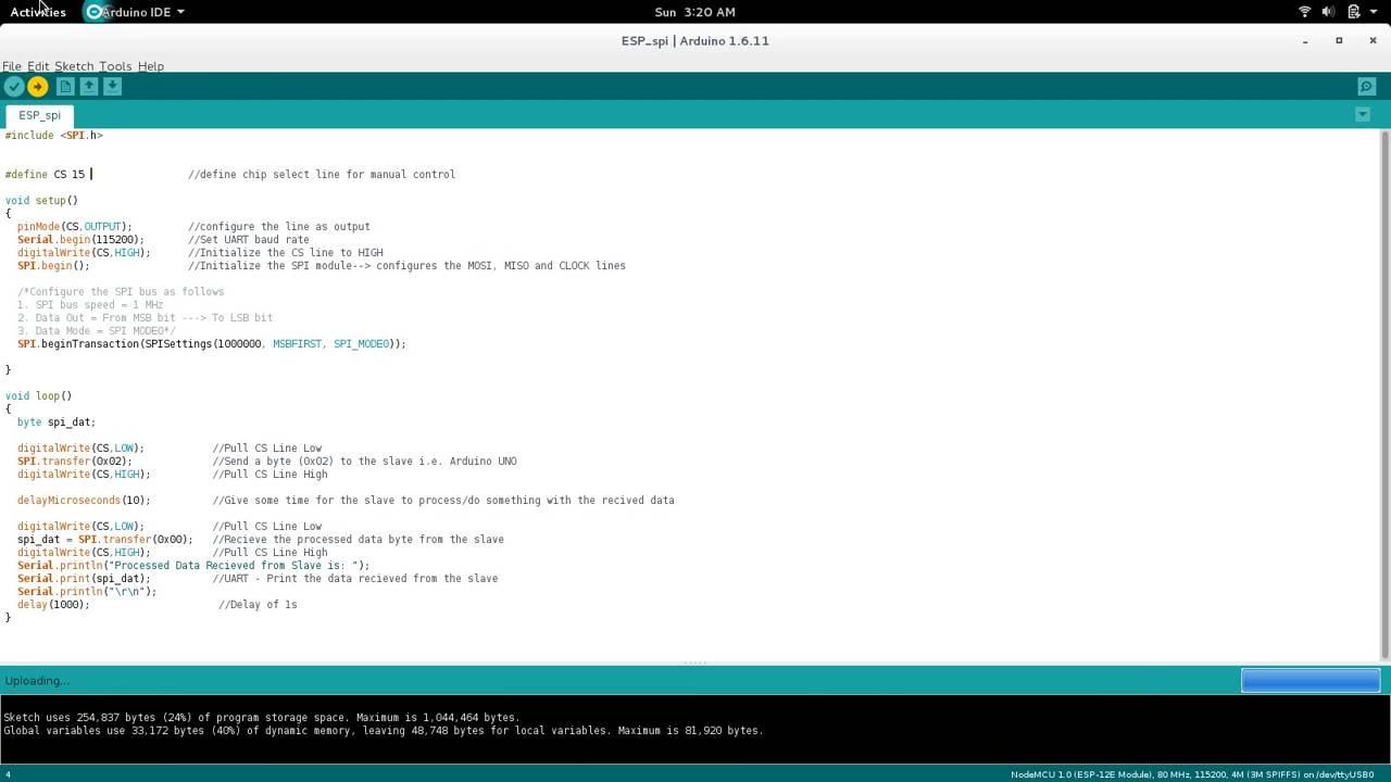 SPI Communication between NodeMCU and Arduino UNO