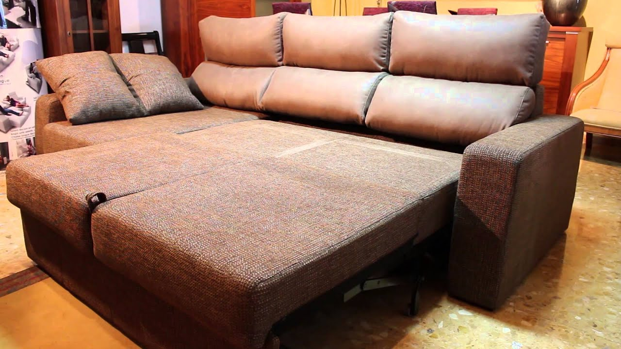 Sof cama con chaise longue muebles dimestre youtube for Chaise longue sofa cama