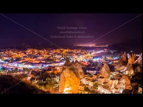 Pan Timelapse view of Goreme village in Cappadocia at night in Turkey