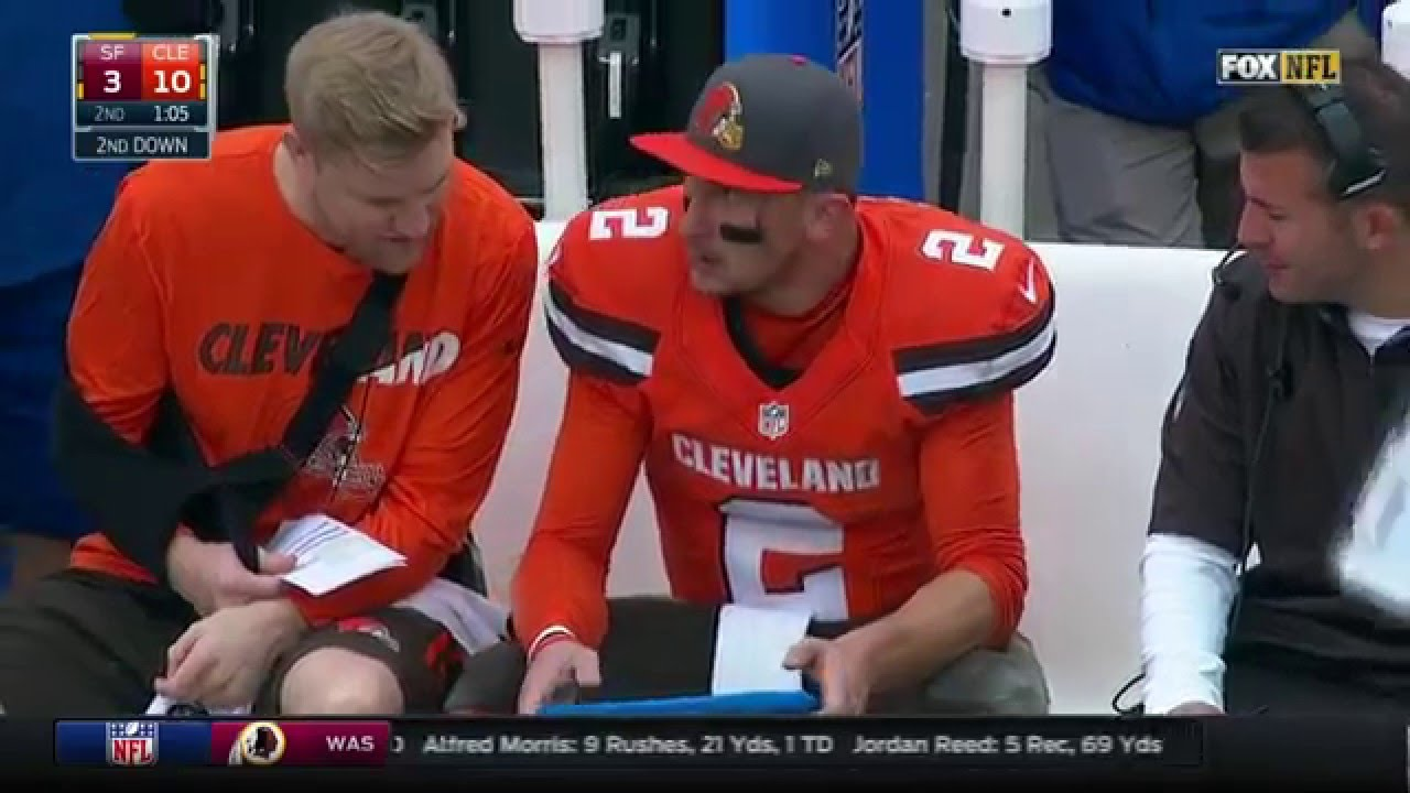 Johnny Manziel Throws INT & Head Butts Microsoft Tablet on Sideline! | 49ers vs. Browns | NFL