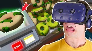 Silly office worker COPIES 1000 ROTTEN DONUTS & EATS THEM ALL!!    Job Simulator VR Gameplay Part 5