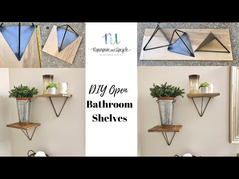 DIY OPEN BATHROOM SHELVES with brackets from the Hairpin Leg Company
