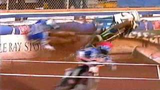 Antonio Lindback crashes Speedway bike Poole vs. Ipswich 2005
