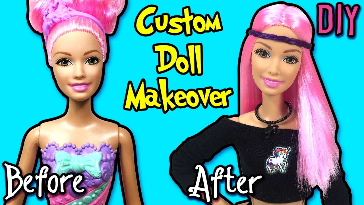 Barbie Doll Makeover - DIY Custom Doll and Clothes - Straighten Doll Hair - Making Kids Toys
