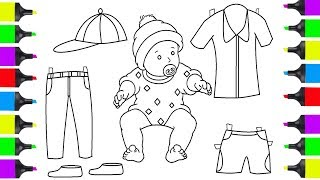 How To Draw Baby And Clothes | Coloring Pages For Children | Learn How To Draw