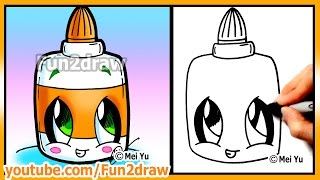 Back To School - Easy Drawings Step by Step - How to Draw Cute Glue Fun2draw kawaii Art Tutorials
