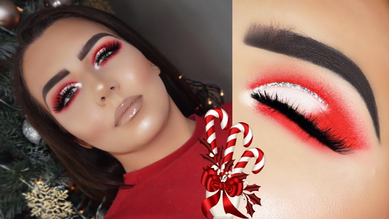 Candy Cane Eye Christmas Makeup Tutorial Morphe x James Charles Palette