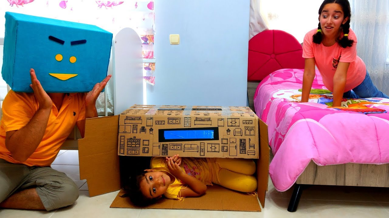 Esma  and Asya Hide and Seek play home for kids video