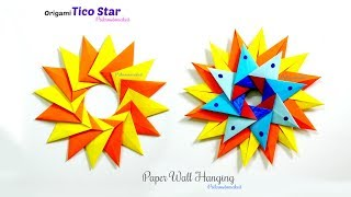 Origami Tico Star || origami 16 pointed star || Paper wall hanging || easy paper craft