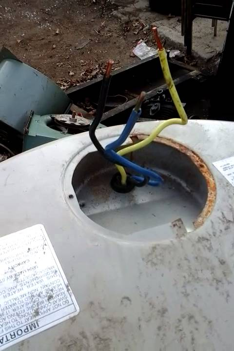 Hot water heater wires black blue yellow ? - YouTube