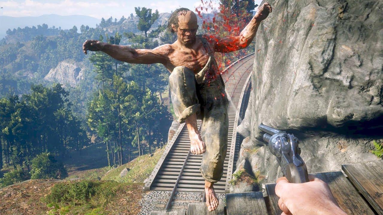 Red Dead Redemption 2 PC 60FPS - First Person Brutal Gameplay Vol.72 (Euphoria Ragdolls)