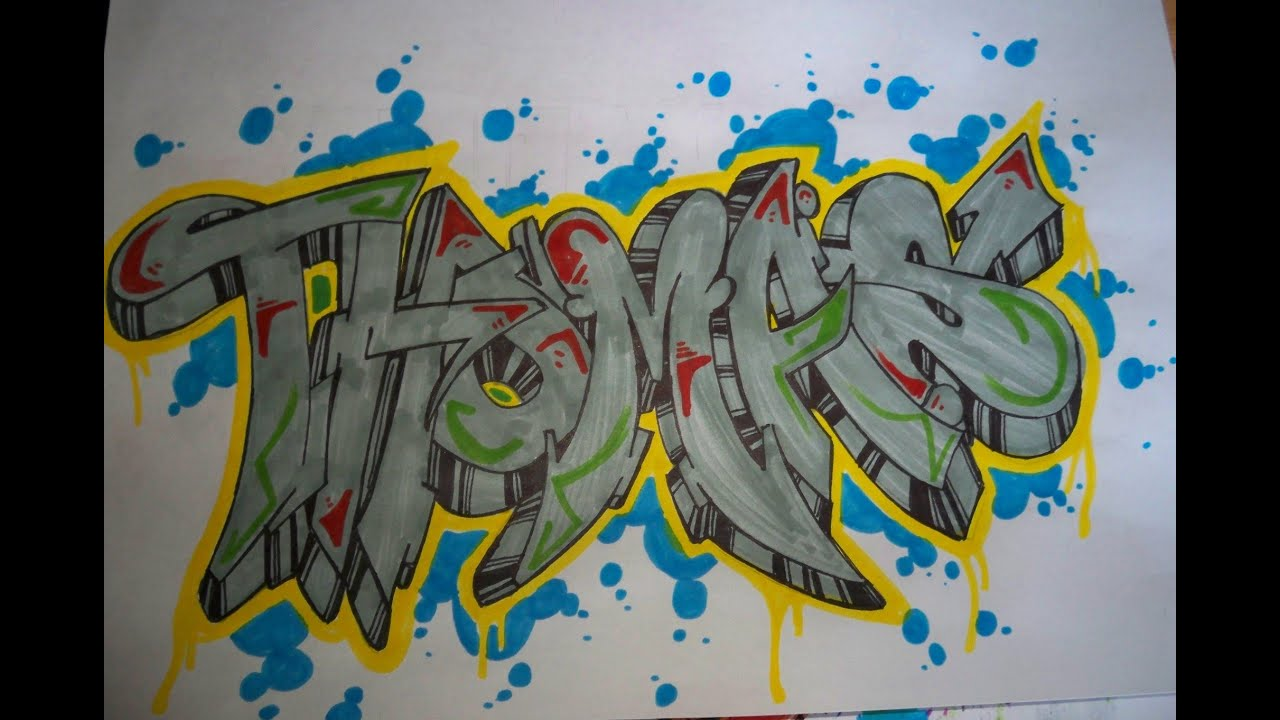 write your name in graffiti In this video, we learn how to write a name in graffiti letters start off by outlining the letters, make sure to draw them thick so they look 3d add in different shapes edges to the letters to make them look more like graffiti.