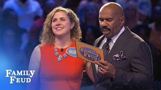 Allison and Drew seal it with a KISS! | Family Feud