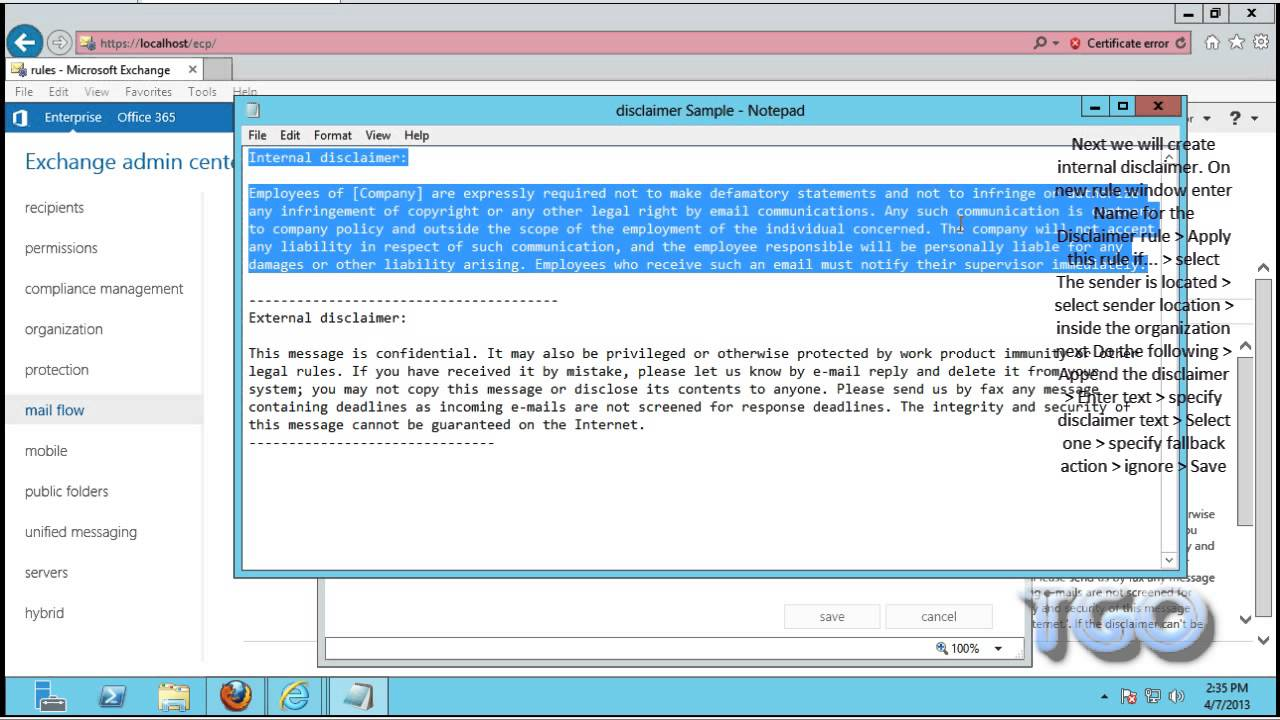Add Disclaimer in Exchange Server 2013