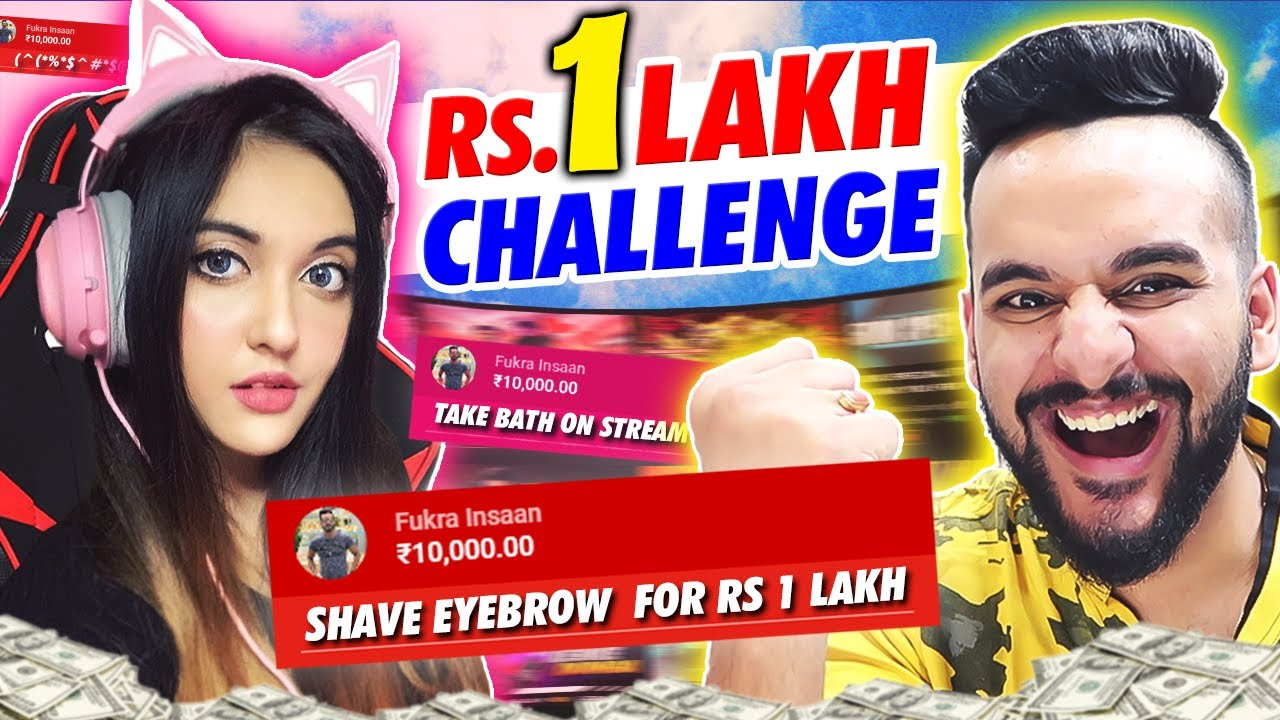 I challenged STREAMERS for RS.1 LAKH !! *Live bath on stream*