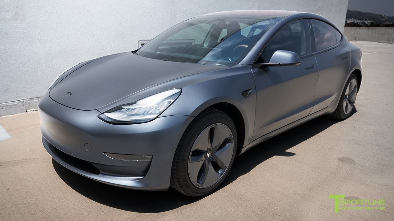 Xpel Midnight Silver Metallic Model 3 Customized With Generation 2 Seat Upgrade Kit