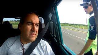 RASTROJERO EN CONTROL POLICIAL Osvaldo Cabral en ruta de Entre Ríos, para Litoral Rally Raid