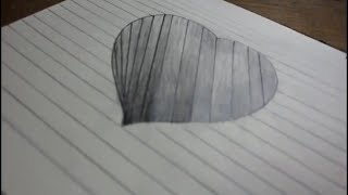 How TO Draw a 3d hole heart shape on line paper for kids...