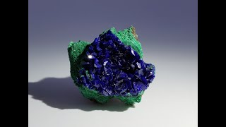 Azurite on Fibrous Malachite Mineral Specimen from Liufengshan Mine, Anhui, China