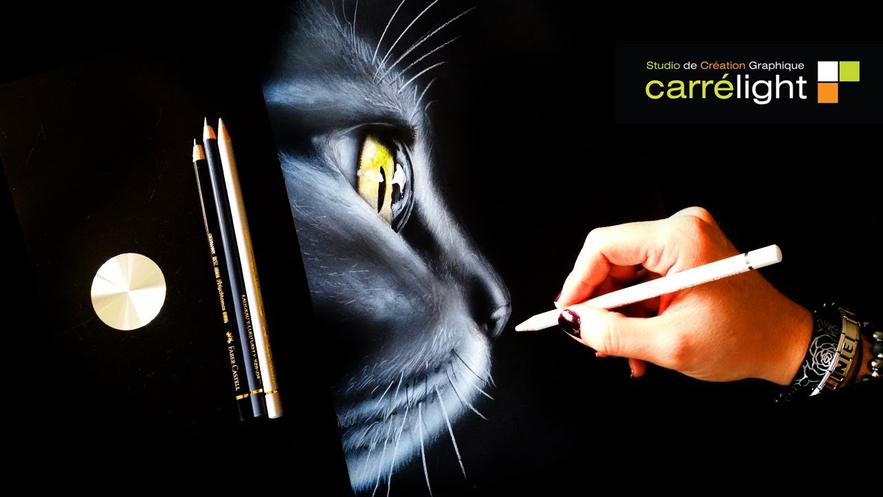 Comment Dessiner Un Chat Peindre Un Chat Dessiner Sur Papier Noir