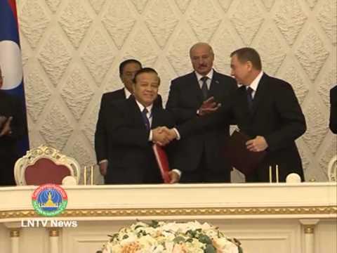 Lao News on LNTV- Lao President Choummaly Sayasone hold talks with his Belarusian counterpart