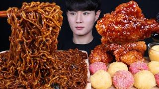 짜파구리 치즈볼 양념 치킨 먹방ASMR MUKBANG …