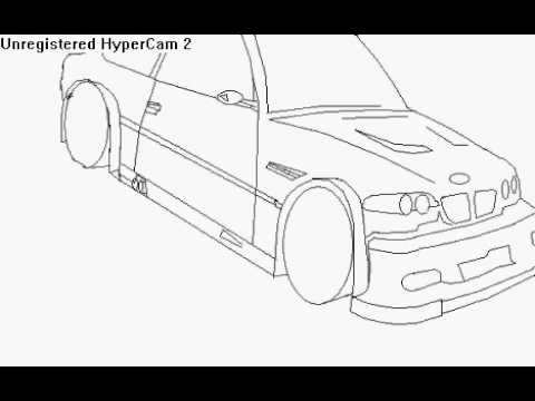 How To Draw A Car Bmw M3 Gtr On Ms Paint Part 1