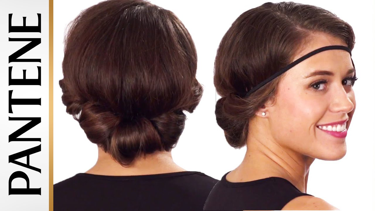 headband roll and tuck updo easy hairstyles for short hair youtube
