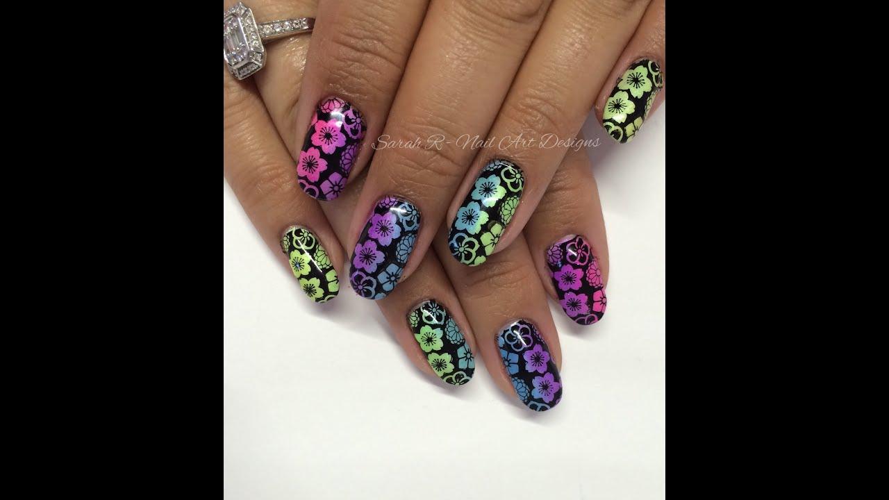 Stamping Fun Friday Floral Neon Nail Art Summer Sorbet