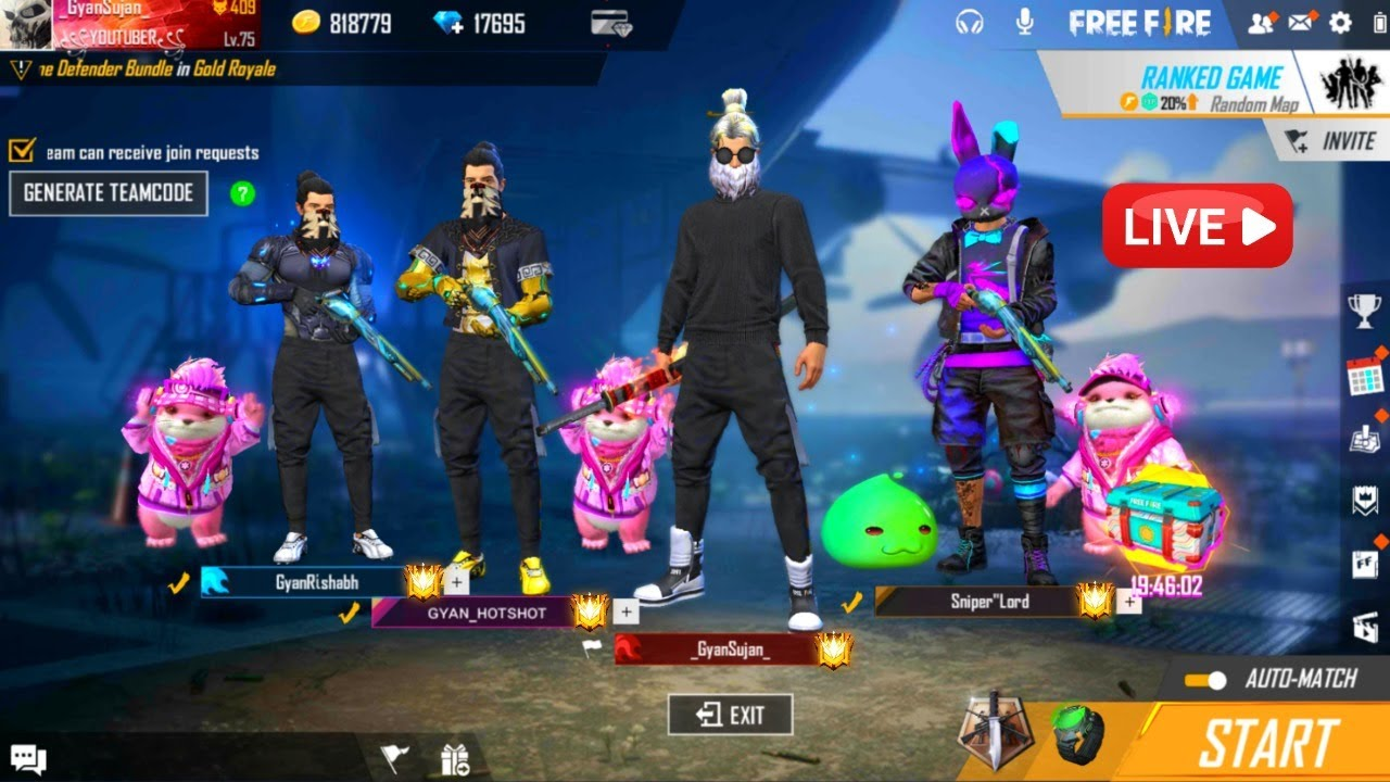 Free Fire Live Duo To Duo Game With 46 Player Garena Free Fire Youtube