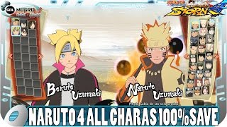 Naruto Storm 4 - ALL Characters SAVEGAME 100% - History Complete - Max Money