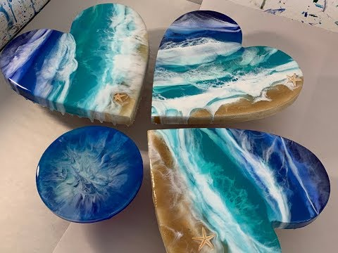 120 - Resin Art - MDF Heart, Real sand, Starfish & 3D Ocean Waves thumbnail