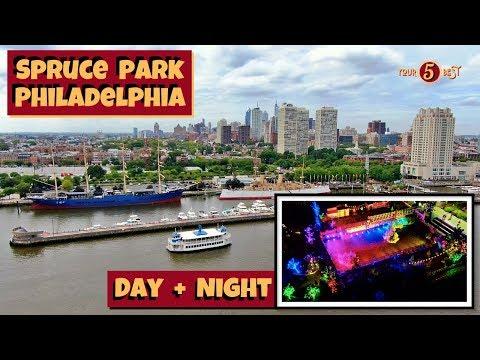 Spruce Street Harbor Park Philadelphia Drone Video Day + Night