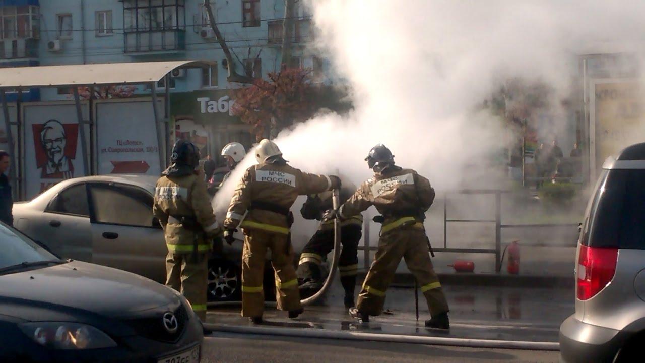 Авария с пожаром на Ставропольской г. Краснодар 5 апреля 2017 года