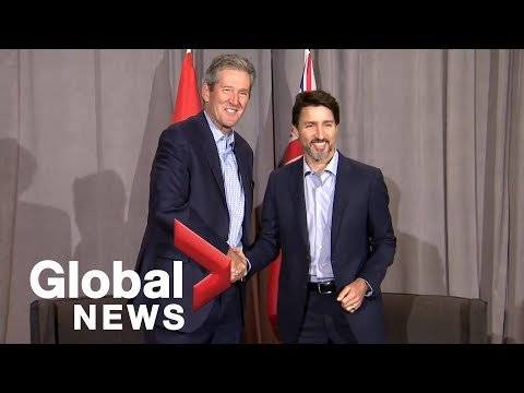 Justin Trudeau meets with Manitoba Premier Brian Pallister during cabinet retreat