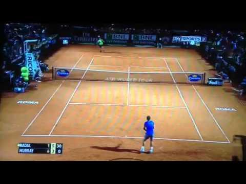 Nadal vs Murray Rome 2014 backhand winner