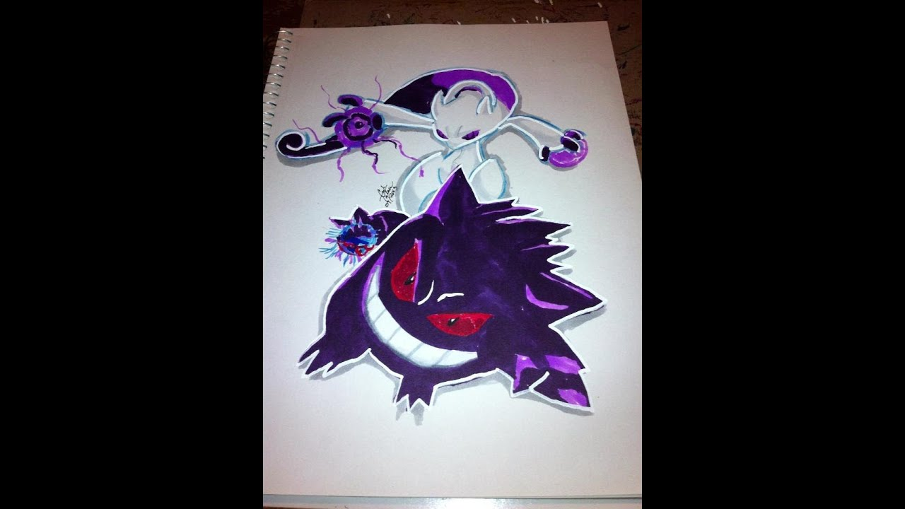 Copic Marker Speed Coloring Pokemon Mewtwo and Gengar With ...