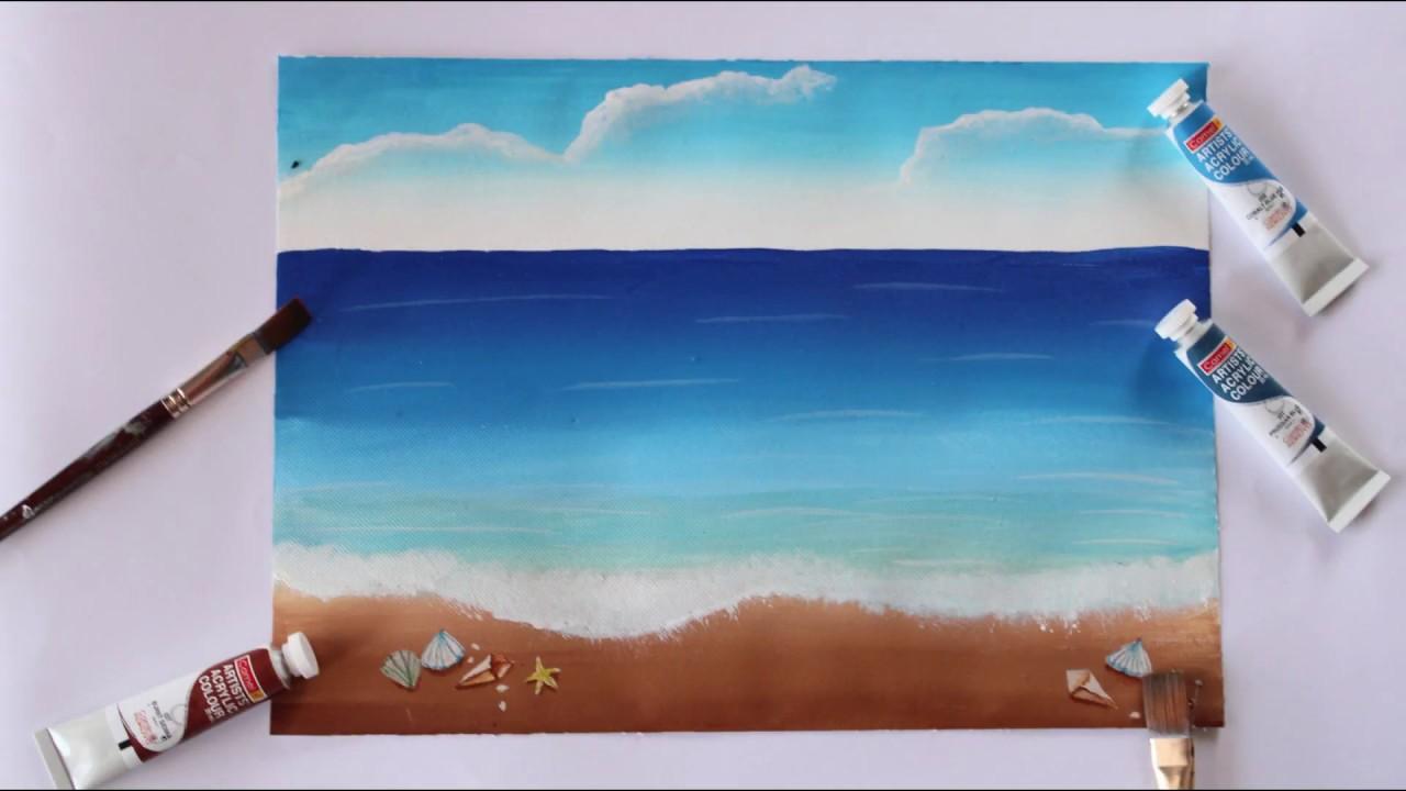 Painting Tutorial Acrylic Ocean For Beginners Easy And Simple Seashore Painting For Beginners Youtube