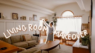 EXTREME LIVING ROOM MAKEOVER!! // Mid-Century Modern + Easy DIY Board & Batten Wall | Ep. 01