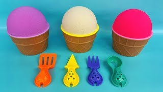 3 Color of Kinetic Sand in Ice Cream Cups and Learn Colors | Surprise Squash Toys |  Surprise Eggs