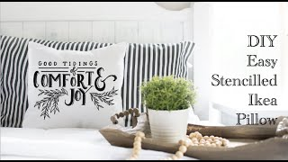 DIY Easy Stencilled Ikea Pillow