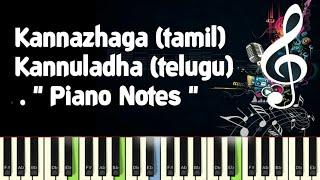 Kannazhaga (3 moonu) (tamil) Kannuladha (telugu) anirudh, piano notes, midi file, Karaoke