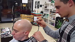 Relaxing Barber Head Shave and Massage with Hyaluronic Acid Spray application ASMR Binaural