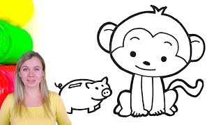 How to Draw a Monkey and a Piggy Bank
