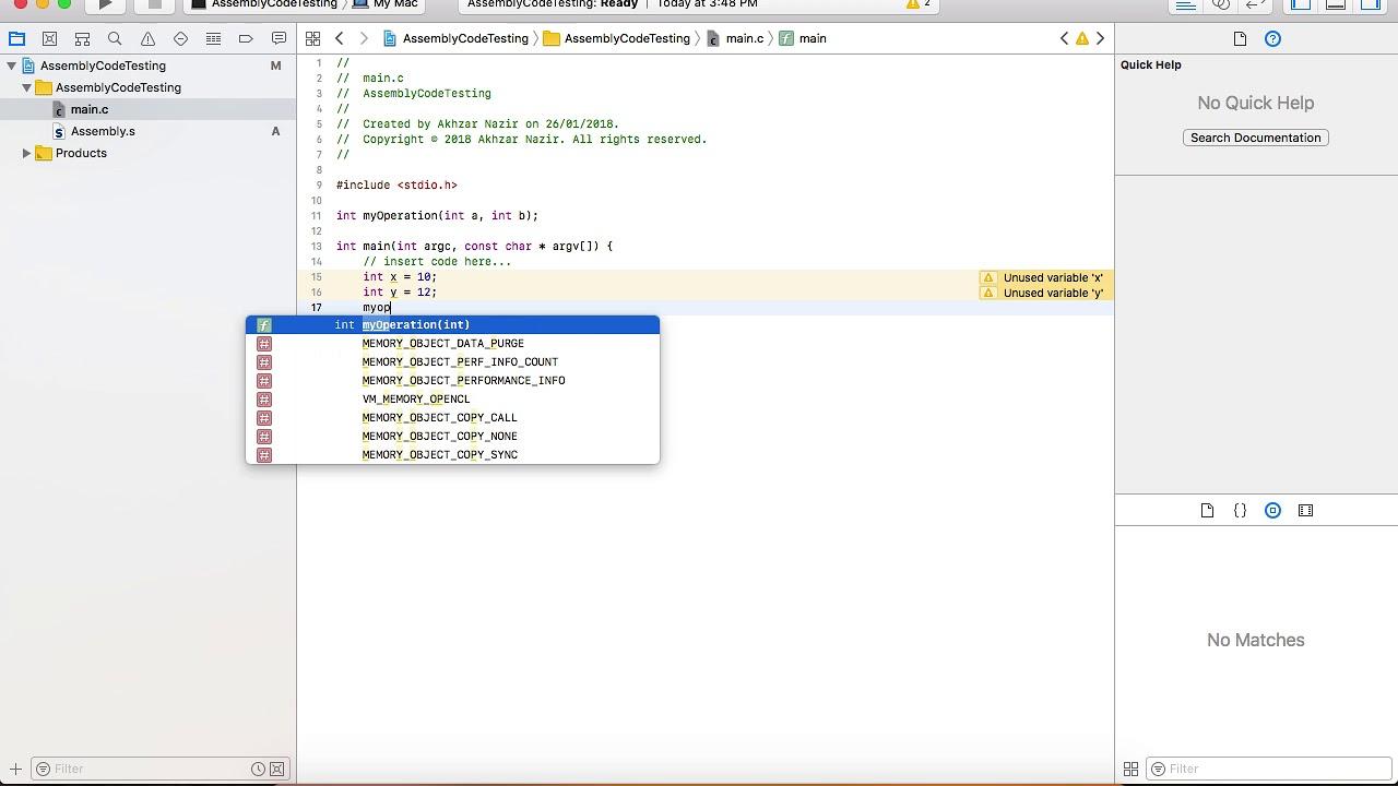 assembly language mac os x
