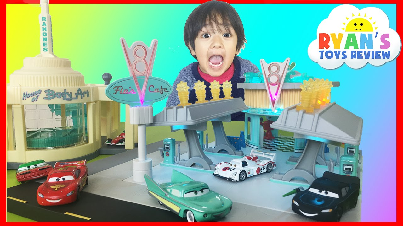 Ryan Plays With Disney Cars Toys Precision Series Flo S V8