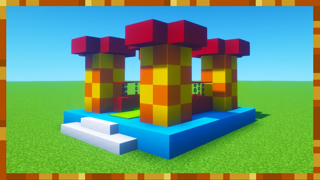 """Minecraft Tutorial: How To Make A Working Bouncy House """"Quick Builds"""""""