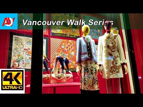 Vancouver WALK: WEST GEORGIA STREET (NIGHT) Heading East from Burrard to Georgia Viaduct - 4K